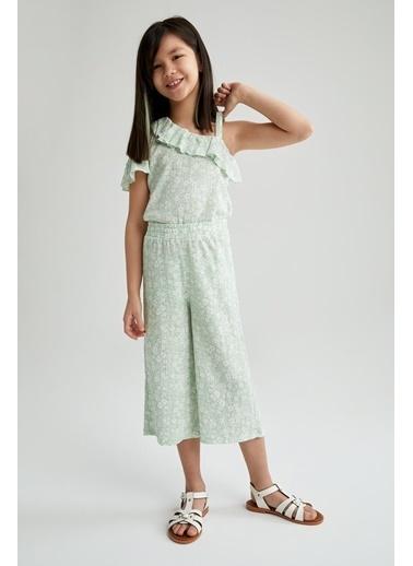 DeFacto Kız Çocuk Desenli Tek Omuzlu Bluz Ve Pantolon Turkuaz